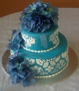 kathy's blue wedding cake